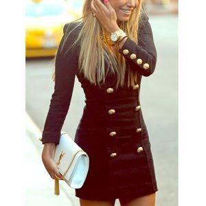 Dresses & Skirts - Dark navy dress with gold buttons